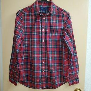 Boys Polo RL Plaid Button Down Shirt Large 14-16